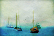 Foggy Digital Art Prints - Harbor Fog Print by Darren Fisher