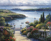 Lakeside Paintings - Harbor Garden by Ghambaro