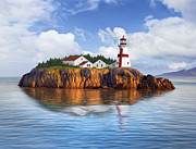 Lighthouse Oil Paintings - Harbor Light by James Charles