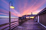 Harbors Prints - Harbor Lights Print by Debra and Dave Vanderlaan