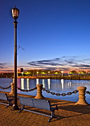 Glazed Photos - Harbor Lights by Robert Harmon