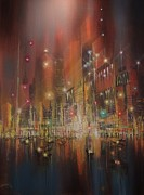 City At Night Paintings - Harbor of Lights by Tom Shropshire