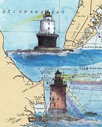 Refuge Painting Prints - Harbor of Refuge Lighthouses DE Chart Map Art Cathy Peek Print by Cathy Peek