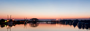 Boats At Dock Framed Prints - Harbor Panorama at Dawn Framed Print by Paul Wolf