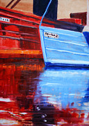Scow Paintings - Harbor Reflection by Nancy Merkle