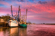 Shrimping Boat Posters - Harbor Sunset Poster by Debra and Dave Vanderlaan