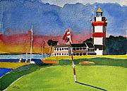 Lighthouse Paintings - Harbor Town 18th SC by Lesley Giles