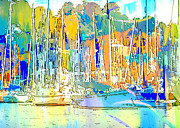 Yacht Mixed Media Metal Prints - Harborside Metal Print by Lauren Brading