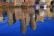 Boston Harbor Posters - Harborside Reflections Poster by Joann Vitali
