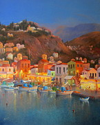 Yialos Beach Prints - Harbour Lights Symi Greece Print by Raymond Alfred Gilronan