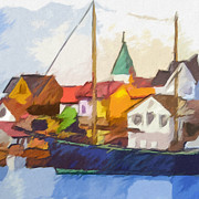 Fishing Village Painting Posters - Harbour Seascape Poster by Lutz Baar