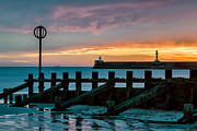 Breakwater Framed Prints - Harbour Sunrise Framed Print by David Bowman