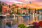 Italian Landscape Digital Art Prints - Harbour Sunset Print by Dominic Davison