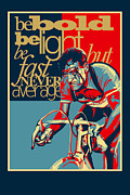 Cycling Art Paintings - Hard as Nails vintage cycling poster by Sassan Filsoof