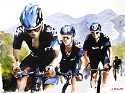 Tour De France Paintings - Hard High Yards by Shirley  Peters