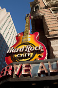 Philadelphia Photo Prints - Hard Rock Cafe Guitar Sign in Philadelphia Print by Bill Cannon