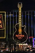 Las Vegas Pyrography Prints - Hard Rock Cafe Print by Peter Dang
