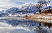 Fishing Creek Photo Posters - Hardy Fishermen Deer Creek Reservoir and Timpanogos in Winter Poster by Gary Whitton