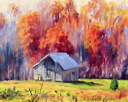 Old Barns Paintings - Hardy Road Barn- In Autumn by Bonnie Mason