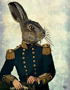 Wall Decor Greeting Cards Prints - Hare Lieutenant Hare Print by Kelly McLaughlan