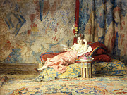 Lounging Painting Posters - Harem Beauty Poster by Alexandre Louis Leloir