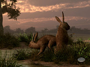 Wild Rabbit Posters - Hares in the Wetlands Poster by Daniel Eskridge