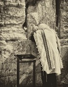 Prayer Shawl Posters - Harken Unto My Prayer O Lord Western Wall Jerusalem Antiqued Poster by Mark Fuller