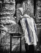 Prayer Shawl Posters - Harken Unto My Prayer O Lord Western Wall Jerusalem BW Poster by Mark Fuller