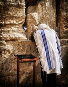 Prayer Shawl Posters - Harken Unto My Prayer O Lord Western Wall Jerusalem Poster by Mark Fuller