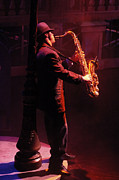 Saxaphone Prints - Harlem Nocturne Sax In The City Print by Bob Christopher