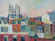 Harlem Paintings - Harlem Rooftops by Linda Novick