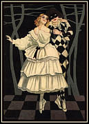 Ballet Dancers Digital Art Prints - Harlequin and His Lady Love Ballet Dancing Pair Print by Pierpont Bay Archives