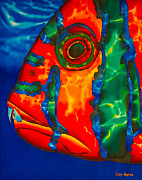 Tropical Fish Tapestries - Textiles Posters - Harlequin Tusk Fish Poster by Daniel Jean-Baptiste