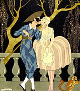 First Love Framed Prints - Harlequins Kiss Framed Print by Georges Barbier