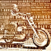 Digital Collage Mixed Media Posters - Harley Davidson Collage Poster by Marsha Heiken
