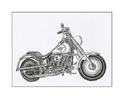 Net Drawings Posters - Harley Davidson Fat Boy Poster by Jack Pumphrey