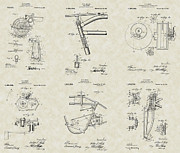 Mechanic Drawings Framed Prints - Harley-Davidson First Motorcycle Patent Collection Framed Print by PatentsAsArt