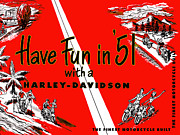 Harley Posters - Harley Davidson Fun in 51 Poster by Mark Rogan