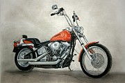 Motorcycle Pastels - Harley Davidson by Heather Gessell