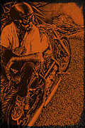 Sport Pyrography Posters - Harley Davidson Poster by Marina Burrascano