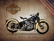 Harley Davidson Framed Prints - Harley Davidson Model EL Framed Print by Mark Rogan