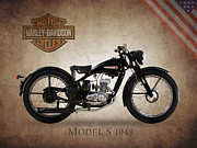 Harley Framed Prints - Harley-Davidson Model S 1948 Framed Print by Mark Rogan