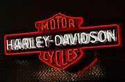 Lights Posters - Harley-Davidson Motor Cycle Neon Lights 2 Poster by Jill Reger