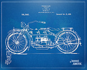 Us Open Framed Prints - Harley-Davidson Motorcycle 1919 Patent Artwork Framed Print by Nikki Marie Smith