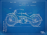 Reverse Prints - Harley-Davidson Motorcycle 1924 Patent Artwork Print by Nikki Marie Smith