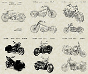 Technical Art Drawings Prints - Harley-Davidson Motorcycles Patent Collection Print by PatentsAsArt