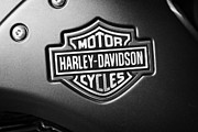 Motorbike Posters - Harley Davidson Shield And Bar Logo On A V-rod Bike In Orlando Florida Usa Poster by Joe Fox