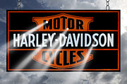 Holes Prints - Harley Davidson Sign Print by Mike McGlothlen