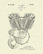 Patent Drawing Drawings Posters - Harley Engine 1923 Patent Art Poster by Prior Art Design