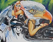 American Eagle Paintings - Harley Girl by PainterArtist FIN
